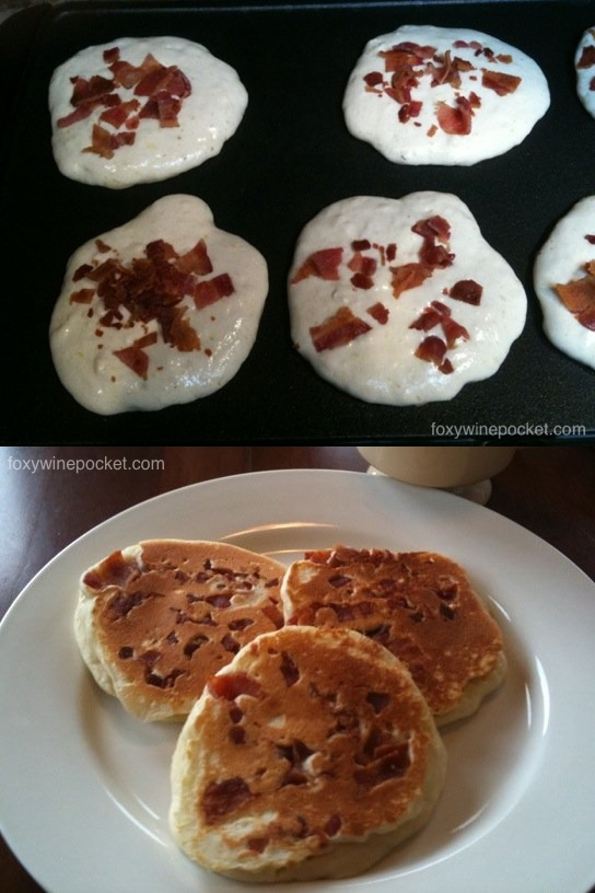 Add meat sprinkles to the pancakes instead of entire strips. See, you should put meat sprinkles on everything!