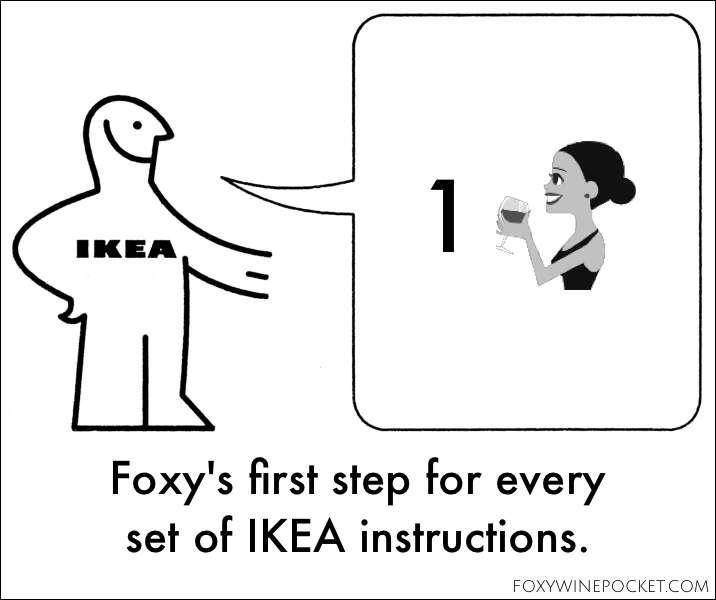 Foxy's first step for every set of IKEA instructions. @foxywinepocket #winecomesfirst #drunkassembly