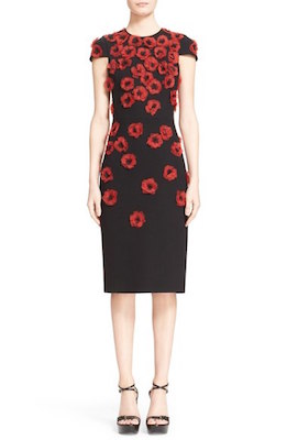 Crimson Poppy Floral Embellished Sheath Dress