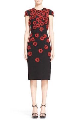 Crimson Poppy Floral Embellished Sheath Dress
