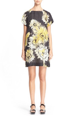 Floral Print Silk Shift Dress