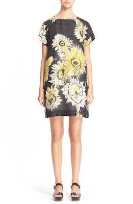 Floral Print Silk Shift Dress