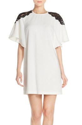 Lace Shoulder Crepe A-Line Dress
