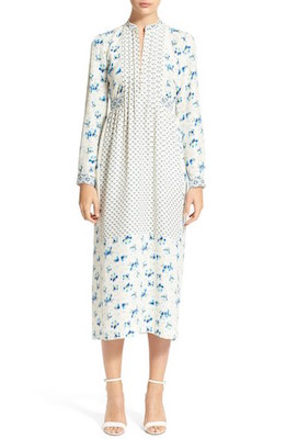 Lauren Print Silk Marocain Midi Dress