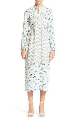 Lauren Print Silk Marocain Midi Dress