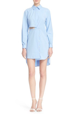 Side Cutout Poplin Shirtdress