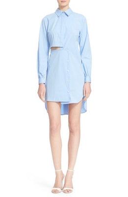 Side Cutout Poplin Shirtdress
