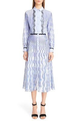 Snuffbox Print Silk & Cotton Midi Shirtdress